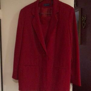 Stunning red two piece business suit